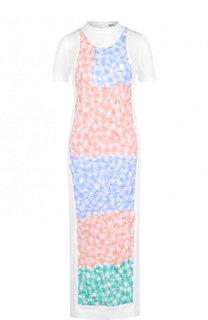Приталенное платье-миди из смеси хлопка и льна с декорированной отделкой Loewe