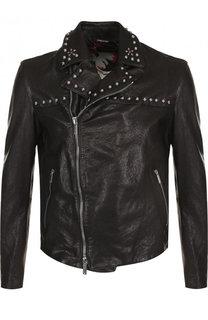 Кожаная куртка с косой молнией и металлической отделкой Emporio Armani
