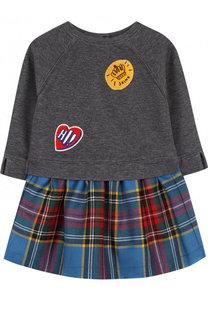 Платье из смеси хлопка и шерсти с аппликациями Burberry