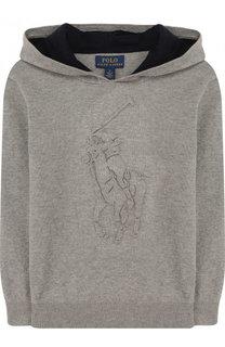 Вязаное худи с тисненым логотипом бренда Polo Ralph Lauren
