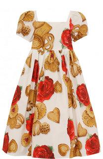 Хлопковое платье с принтом Dolce & Gabbana