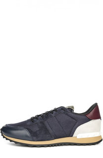 Замшевые кроссовки Valentino Garavani Rockrunner на шнуровке Valentino