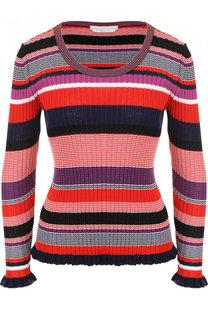 Хлопковый пуловер с круглым вырезом фактурной вязки BOSS