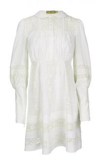 Приталенное платье с ажурными вставками и удлиненными рукавами Fay