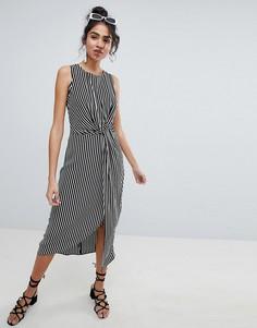 Платье миди с перекрученной отделкой New Look - Черный