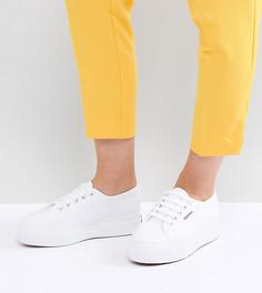 Белые кроссовки на плоской платформе Superga 2790 - Белый