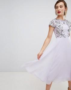 Платье миди с короткими рукавами и отделкой Frock & Frill - Фиолетовый