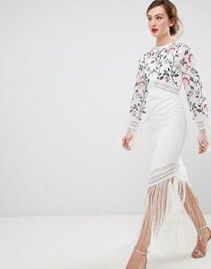 Платье с длинными рукавами и вышивкой Frock & Frill - Белый