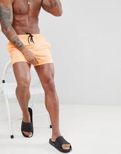 Неоново-оранжевые короткие шорты для плавания ASOS DESIGN - Оранжевый