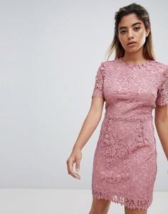 Кружевное платье мини Fashion Union - Розовый