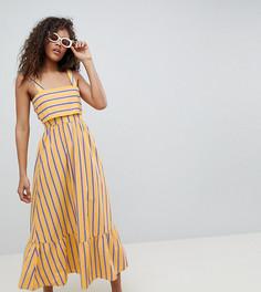 Платье макси в полоску с оборкой ASOS DESIGN Tall - Мульти