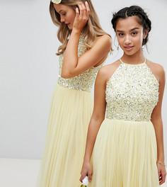 Платье мини с американской проймой, пайетками и юбкой из тюля Maya Petite - Желтый