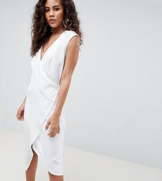 Атласное платье-смокинг ASOS DESIGN Tall - Белый
