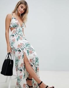 Платье макси с тропическим принтом и разрезами Missguided - Бежевый