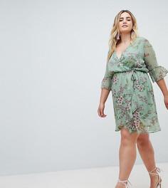 Шифоновое платье мини с цветочным принтом и оборками на рукавах Missguided Plus - Зеленый