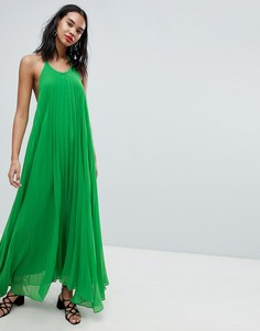 Плиссированное платье макси с открытой спиной Missguided - Зеленый
