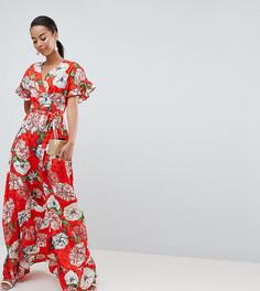 Жаккардовое платье макси с оборками и цветочным принтом ASOS DESIGN Tall - Мульти