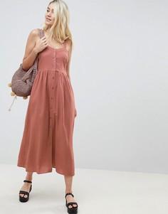 Льняное платье макси на пуговицах ASOS DESIGN - Розовый