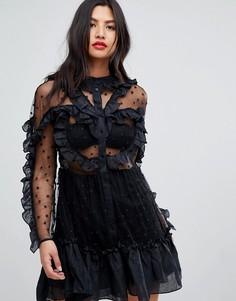 Полупрозрачное платье мини с оборками Stevie May - Черный