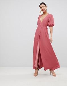 Платье макси с запахом Fashion Union - Розовый