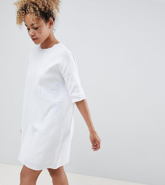 Трикотажное платье-футболка с ажурной отделкой ASOS DESIGN Petite - Белый