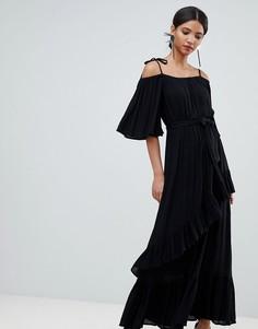 Платье макси с оборками Y.A.S - Черный