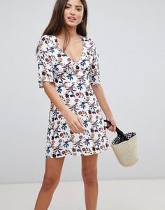 Платье мини с оборками на рукавах Fashion Union - Белый