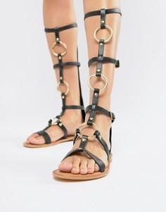 Кожаные гладиаторские сандалии до колена ASOS DESIGN - Черный