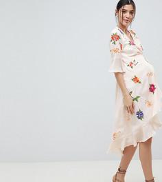 Платье миди с запахом и вышивкой ASOS DESIGN Maternity - Мульти