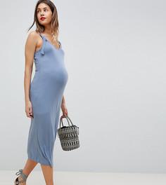 Прямое платье в рубчик ASOS DESIGN Maternity - Синий