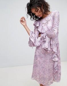 Платье миди с длинными рукавами и принтом Ghost - Фиолетовый