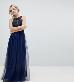 Платье макси с высоким воротом и аппликацией Little Mistress Petite - Темно-синий