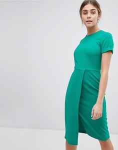 Платье с запахом и короткими рукавами Closet London - Зеленый