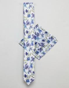 Комплект из галстука и платка для нагрудного кармана с цветочным принтом ASOS DESIGN wedding - Синий