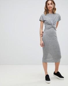 Платье миди в полоску с узлом AllSaints - Серый