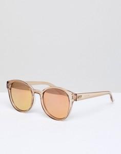 Светло-коричневые круглые солнцезащитные очки Le Specs Paramount - Розовый