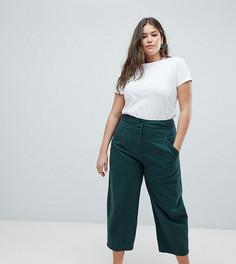 Зеленые брюки прямого кроя со съемным карманом сзади ASOS DESIGN Curve - Зеленый