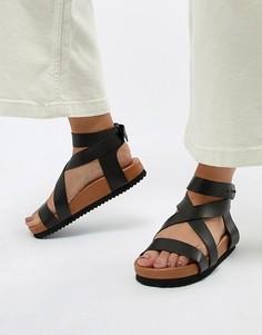 Массивные кожаные сандалии Selected Femme - Черный