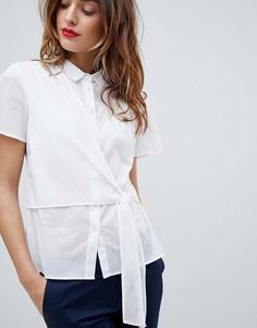 Рубашка с короткими рукавами и завязками по бокам Sisley - Белый