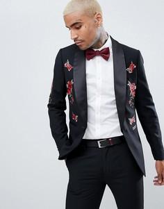 Приталенный смокинг с цветочной вышивкой Devils Advocate - Черный