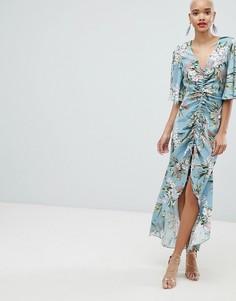 Платье макси с цветочным принтом River Island - Синий