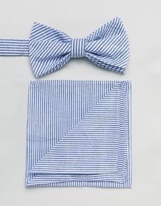 Галстук-бабочка и платок для нагрудного кармана из легкой жатой ткани Gianni Feraud - Темно-синий