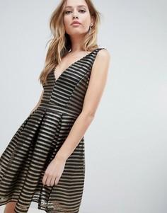 Короткое приталенное платье в полоску Oh My Love - Черный