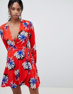 Платье с запахом и цветочным принтом Liquorish - Красный