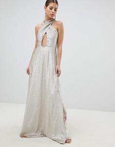 Платье макси с запахом и отделкой пайетками Club L - Золотой