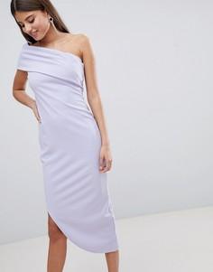 Асимметричное платье миди на одно плечо City Goddess - Синий