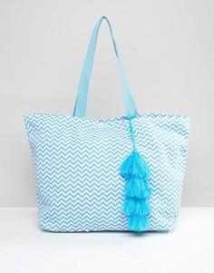 Пляжная сумка с геометрическим принтом Chateau - Синий