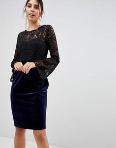 Кружевное платье-футляр с длинными рукавами Paper Dolls - Черный