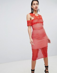 Кружевное платье-футляр The 8th Sign - Красный