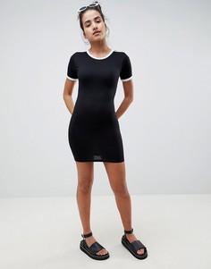 Облегающее платье-футболка в полоску Missguided - Черный